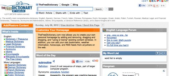 english to english dictionary free online